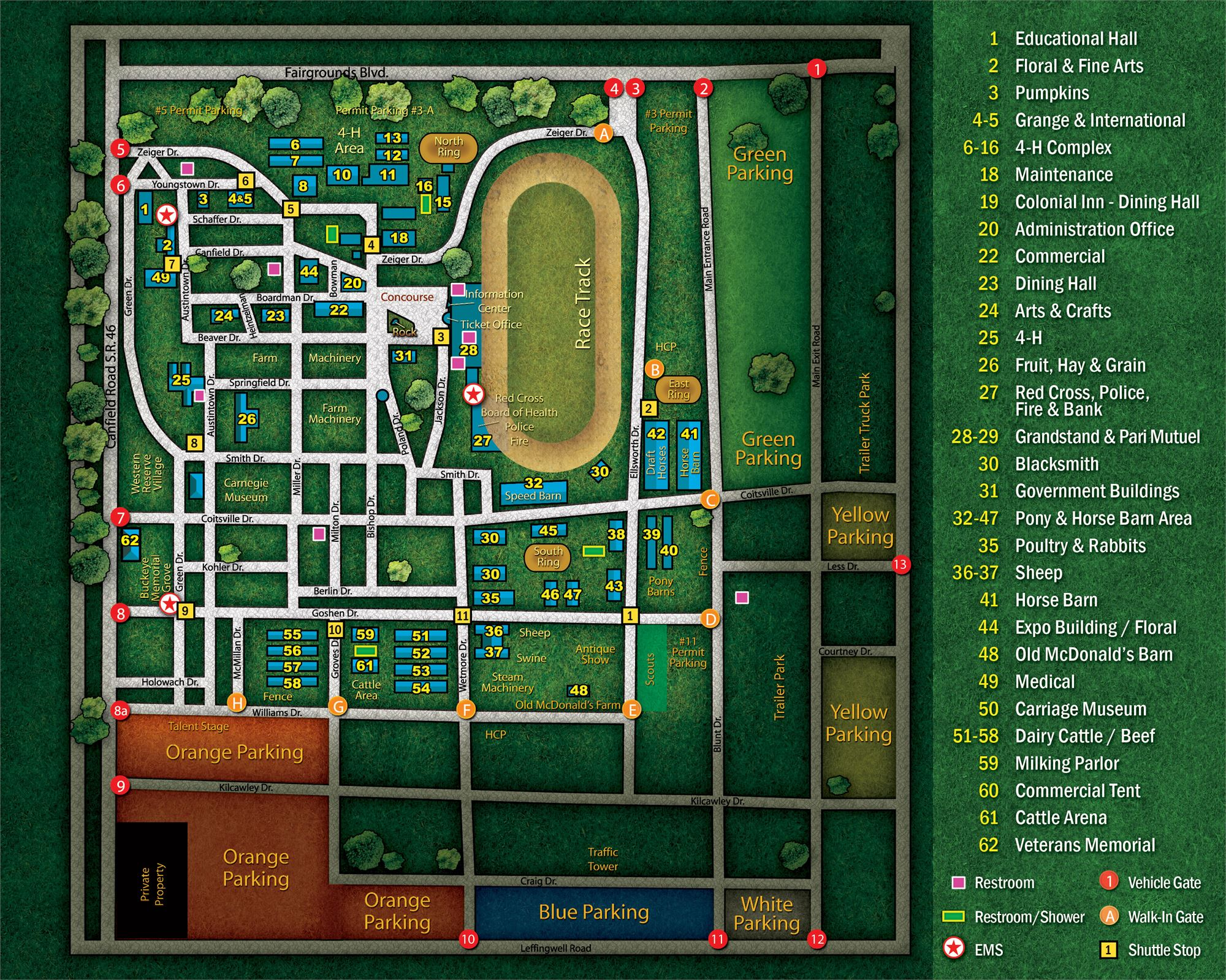 Map of the Canfield Fair and Canfield Fairgrounds